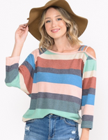 STRIPE TOP WITH 3 STRAP COLD SHOULDER