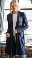 NAVY LONG SLEEVE SLOUCHY POCKET OPEN CARDIGAN