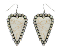 WHITE STONE AND RHINESTONE HEART EARRINGS
