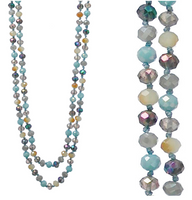 "PURPLE NATURAL MULTI 60"" BEAD NECKLACE"
