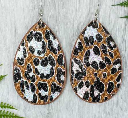 BROWN LEOPARD WITH GLITTER SNAKESKIN EARRINGS