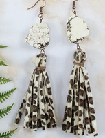 WHITE TURQUOISE STONE WITH LEOPARD TASSEL EARRINGS