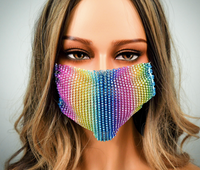 RAINBOW RHINESTONE WITH ADJUSTABLE STRAPS ADULT MASK COVER