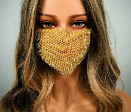 YELLOW RHINESTONE WITH ADJUSTABLE STRAPS ADULT MASK COVER