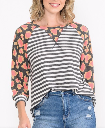 STRIPE TOP WITH CORAL LEOPARD SLEEVE
