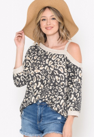 CHARCOAL LEOPARD COLD SHOULDER TOP