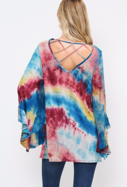 TIE DYE RUFFLE SLEEVE CAGE BACK TOP