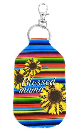 BLESSED MAMA SERAPE AND SUNFLOWER KEYCHAIN HOLDER