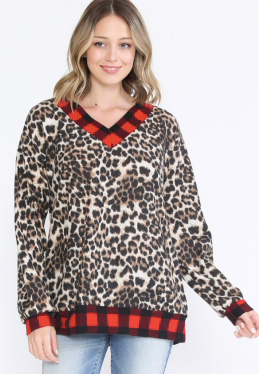 LEOPARD PRINT TOP WITH BUFFALO PLAID TRIM TOP