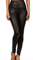 NEW MIX FAUX LEATHER LEGGINGS BLACK