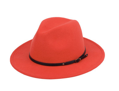 RED FEDORA WIDE BRIM HAT WITH BLACK BOTTOM AND BLACK LEATHER BAND