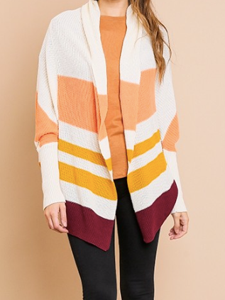 LONG SLEEVE COLOR BLOCK RIBBED CARDIGAN