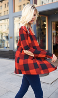 RED BUFFALO PLAID CARDIGAN WITH ELBOW PADS