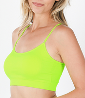 NEON LIME SEEMLESS CRISS CROSS SPORTS BRA WITH PADS ONE SIZE