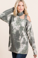 OLIVE TIE DYE MOCKNECK COLD SHOULDER TOP