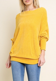 LONG SLEEVE TERRY CLOTH OFF SHOULDER SWEATER SAFFRON