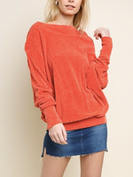 LONG SLEEVE TERRY CLOTH OFF SHOULDER SWEATER SUNSET