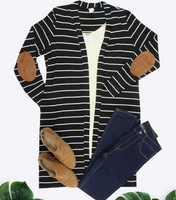 BLACK STRIPE CARDIGAN WITH ELBOW PATCH