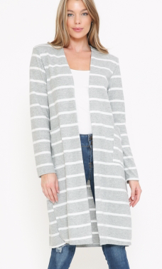 GREY AND WHITE STRIPE CARDIGAN WITH POCKETS