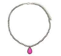 NAVAJO PEARL CHOKER WITH PINK PENDANT