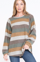 TAUPE MULTI COLOR STRIPE TOP WITH PUFF SLEEVES