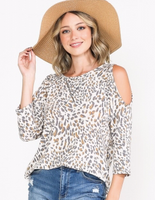 IVORY LEOPARD COLD SHOULDER 3/4 SLEEVE TOP