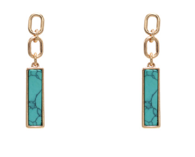 GOLD CHAIN WITH TURQUOISE POST EARRINGS
