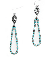 BRUSHED SILVER AND TURQUOISE ELONGATED EARRINGS