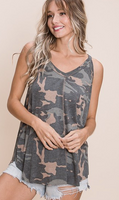 CAMO FLOWY TANK TOP WITH OVERLOCK STITCHING