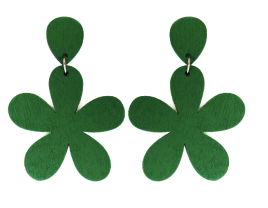 GREEN WOODEN FLOWER POST EARRINGS