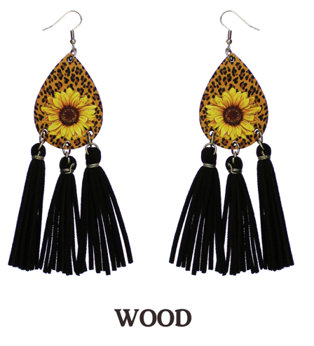 WOODEN SUNFLOWER AND LEOPARD WITH BLACK TASSEL EARRINGS