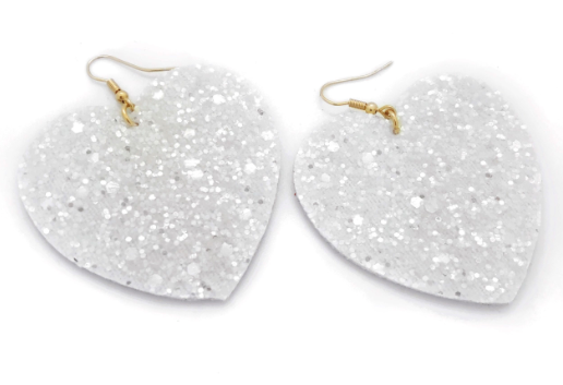WHITE GLITTER HEART EARRINGS