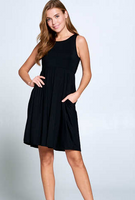BLACK SLEEVELESS DRESS WITH POCKETS
