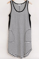 BLACK AND WHITE STRIPED SLEEVELESS DRESS WITH POCKETS
