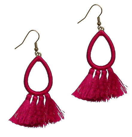 PINK EMBROIDERED TASSEL EARRINGS