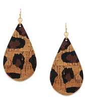 Leopard Cork Teardrop Earrings