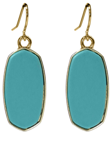 TURQUOISE OVAL STONE DROP EARRINGS