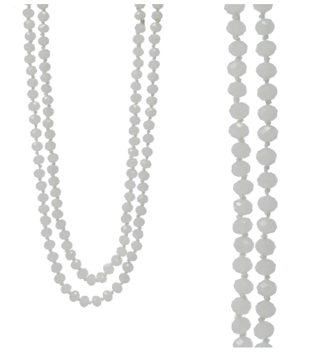 "WHITE 60"" BEAD NECKLACE"