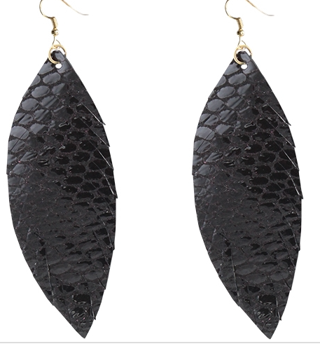BLACK SNAKESKIN FEATHER EARRINGS