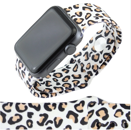 WHITE LEOPARD SILICONE IWATCH BAND