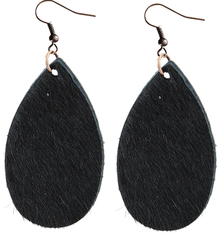 BLACK COWHIDE TEAR DROP EARRINGS