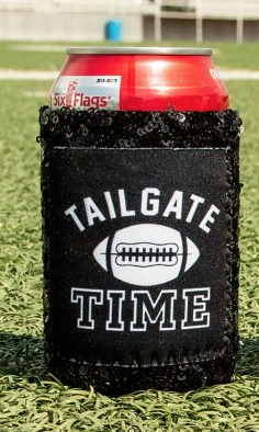 TAILGATE TIME BLACK GLITTER CAN COOLER