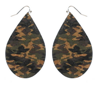 CAMO CORK TEARDROP EARRINGS