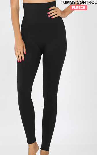 BLACK HIGH WAISTED TUMMY CONTROL FLEECE LEGGINGS