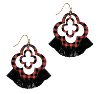 RED AND BLACK BUFFALO PLAID QUATREFOIL TASSEL EARRINGS