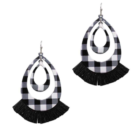 BW BUFFALO PLAID TASSEL EARRINGS