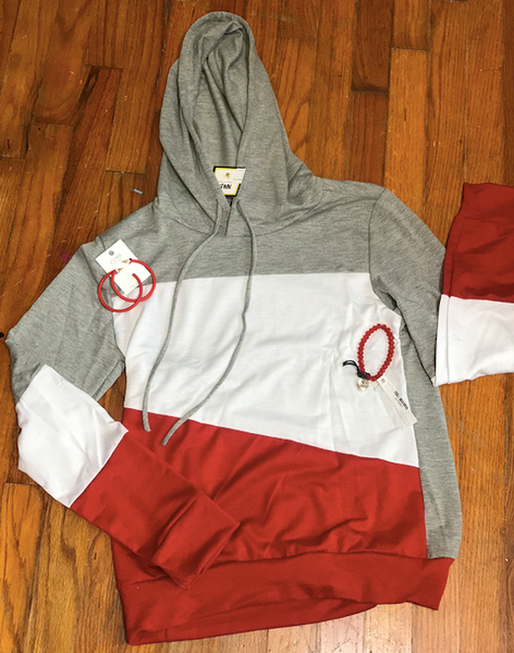 COLOR BLOCK HOODIE GREY WHITE RED