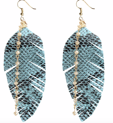 TURQUOISE SNAKE LEAF EARRINGS