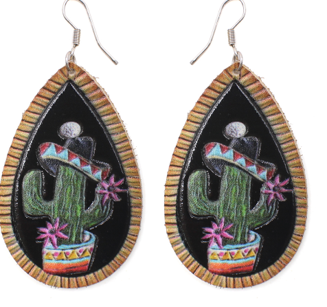 CACTUS IN SOMBRERO LEATHER EARRINGS