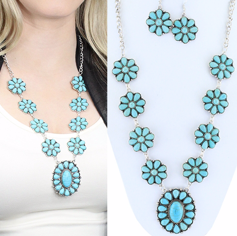 TURQUOISE AND RED SQUASH BLOSSOM NECKLACE SET